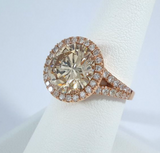 18kt 7.11ct Round Diamonds Engagement  Ring  Pink Gold Halo JEWELFORME BLUE 900,000 GIA EGL certified Diamonds