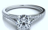 0.35ct G-VS Platinum Round Diamond Engagement Ring setting JEWELFORME BLUE Split diamond Cathedral