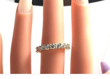3.46ct Round Diamonds Eternity Wedding Ring 18kt Yellow gold JEWELFORME BLUE