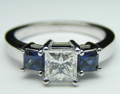 2.60ct Princess Diamond and Sapphire Engagement Ring 18kt White Gold JEWELFORME BLUE