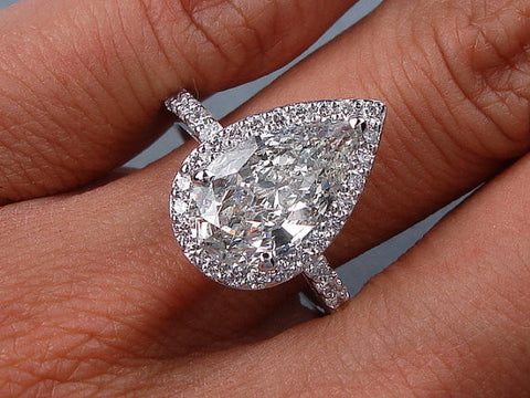 4.70ct Pear Shape Moissanite Diamond Engagement Ring 18kt White Gold JEWELFORME BLUE 900,000 GIA  certified Diamonds