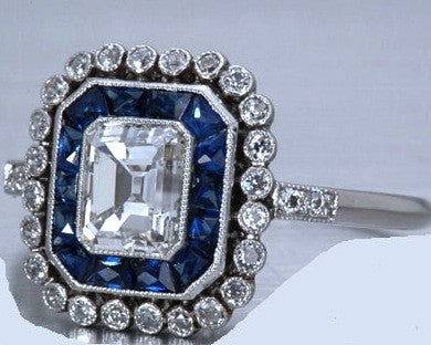 2.80ct Emerald Diamond Engagement Ring Art Deco Sapphire Halo 18kt JEWELFORME BLUE