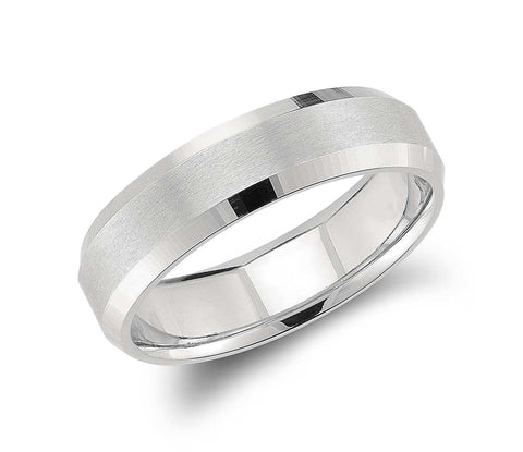 Beveled Men's Wedding Ring 14kt White Gold Anniversary Bridal Birthday jewelry JEWELFORME BLUE