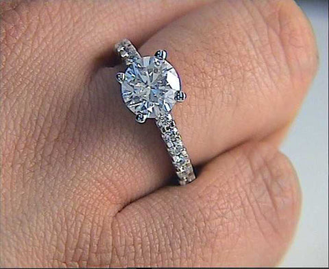 1.76ct J-SI2 Platinum Round Diamond Engagement Ring EGL certified JEWELFORME BLUE