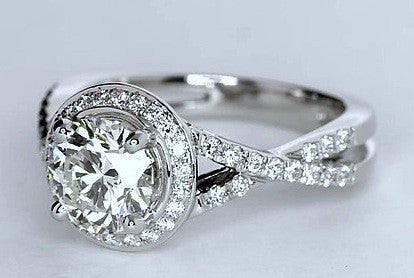 1.44ct G-VS1 Platinum Round Diamond Engagement Ring  EGL certificate  JEWELFORME BLUE