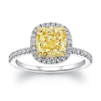2.54ct Fancy Yellow Cushion Diamond Engagement Ring 18kt white Gold Halo JEWELFORME BLUE