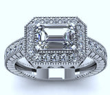 1.53ct G-VS2 Emerald Diamond Engagement Ring EGL certified Halo Platinum JEWELFORME BLUE