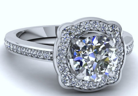 1.76ct Round Diamond Engagement Ring  Diamond Ring Cushion 18kt White gold  JEWELFORME BLUE