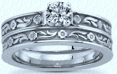 0.70ct Floral Engagement Ring Wedding Band Set  H-VS1 Round Diamond Solitaire 18kt White Gold