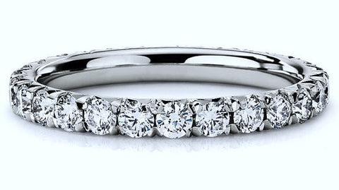 1.04ct Round Diamonds Eternity Wedding Ring 18kt White JEWELFORME BLUE Stack ring