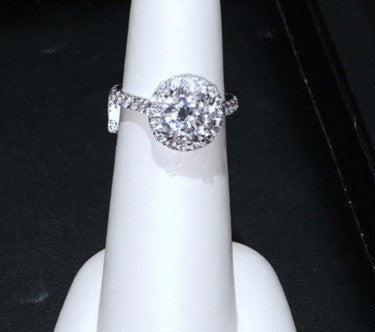 2.88ct F-SI1 Round Diamond Engagement ring Halo JEWELFORME BLUE