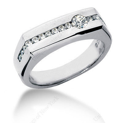 0.70ct Diamond Men's Wedding Ring 14kt White Gold JEWELFORME BLUE