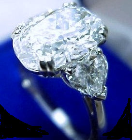 3.82ct Oval Diamond Engagement Ring Oval & Heart Shape Diamond Ring 18kt White Gold JEWELFORME BLUE