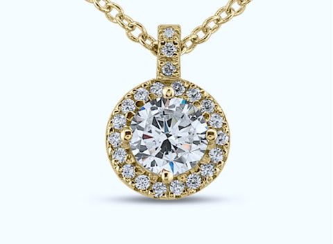 18kt Round 1.10ct Halo Round Diamonds Pendant Necklace 18kt Yellow Gold
