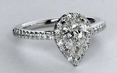 1.35ct E-SI1 Pear Shape Diamond Engagement Ring EGL certified 18kt White Gold JEWELFORME BLUE