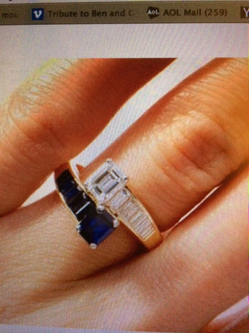 3.94ct EMERALD CUT DIAMOND Sapphire ENGAGEMENT RING JEWELFORME BLUE  GIA certified Diamond