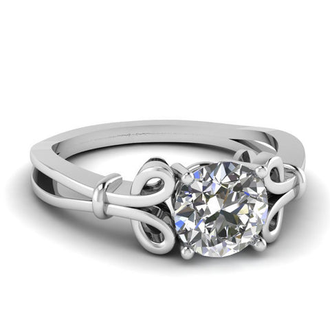0.80ct H-VS2 Round Diamond Engagement Ring 18kt White Gold JEWELFORME BLUE