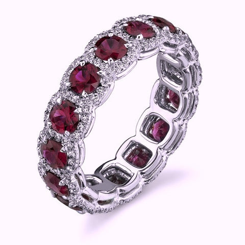 4.46ct Round Ruby Diamond Halo Eternity Ring Wedding Band  JEWELFORME BLUE
