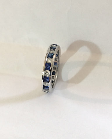 1.88ct Diamond Sapphire Eternity Wedding Ring 14kt White Gold JEWELFORME BLUE