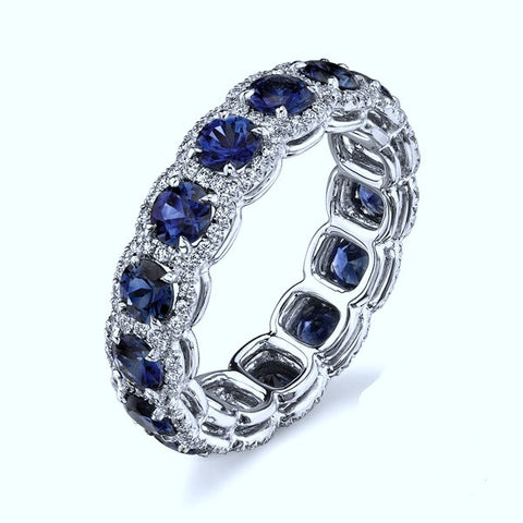 4.40ct Round Sapphire Diamond  Halo Eternity Ring Wedding Band 18kt White Gold JEWELFORME BLUE