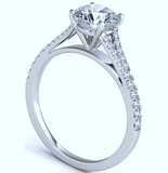 1.66ct E-VVS1 Platinum Round Diamond Engagement Ring JEWELFORME BLUE Split Cathedral GIA