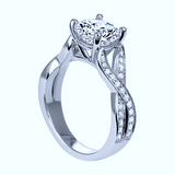 3.50ct J-SI1 GIA 18kt White Gold Halo Round Diamond Engagement Ring JEWELFORME BLUE