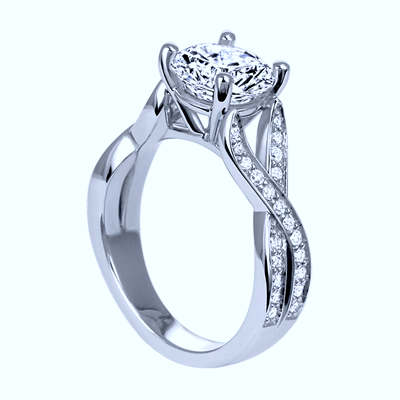 2.49ct F-SI2 GIA 18kt White Gold Halo Round Diamond Engagement Ring JEWELFORME BLUE
