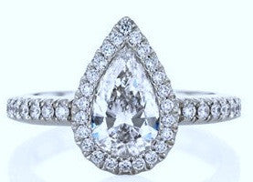 1.07ct D-SI1 Pear Shape Diamond Engagement Ring GIA certified 18kt White Gold JEWELFORME BLUE