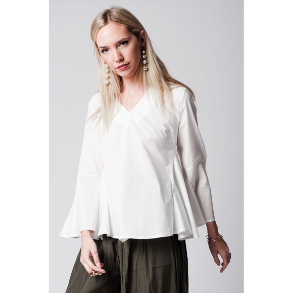 White V neck top with trumpet sleeves