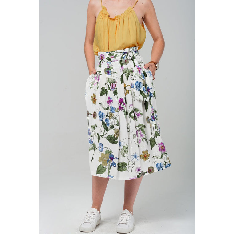 Floral midi skirt in white