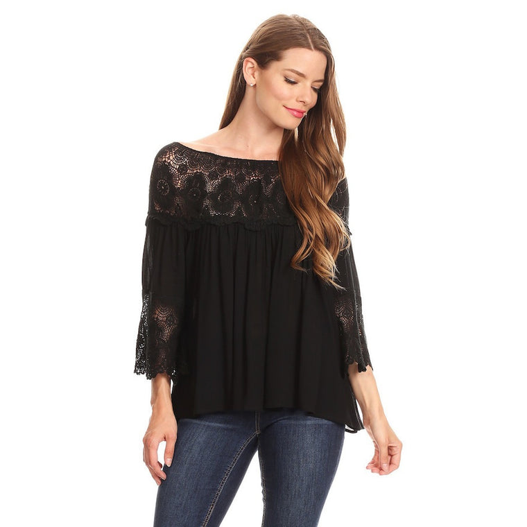 1051-Black lace peasant top