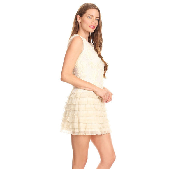 81401-Beige, lace dress