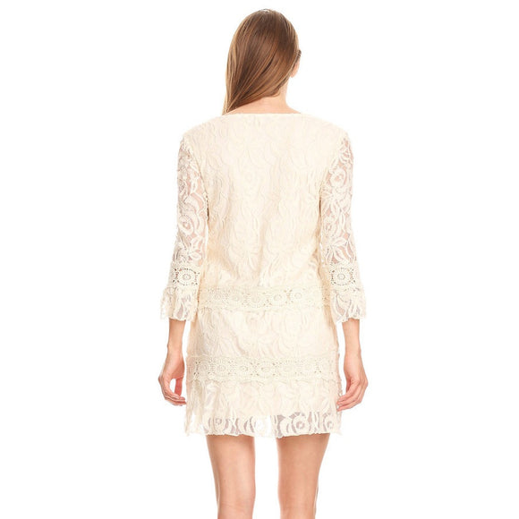81385-Beige, Lace dress