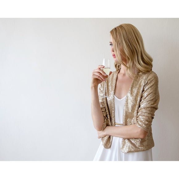 Sequin gold jacket with long sleeves 2014