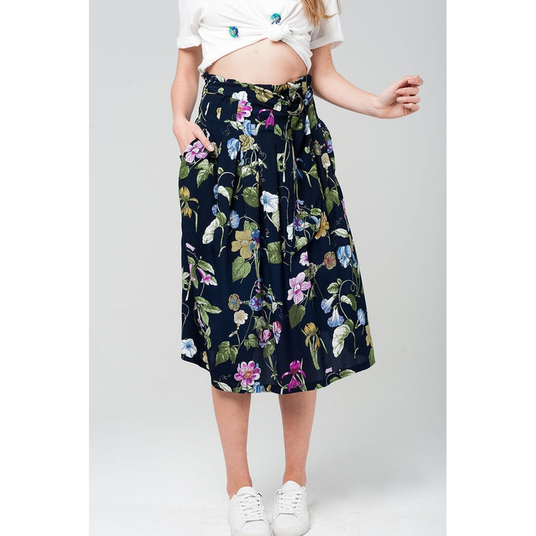 Floral midi skirt in navy