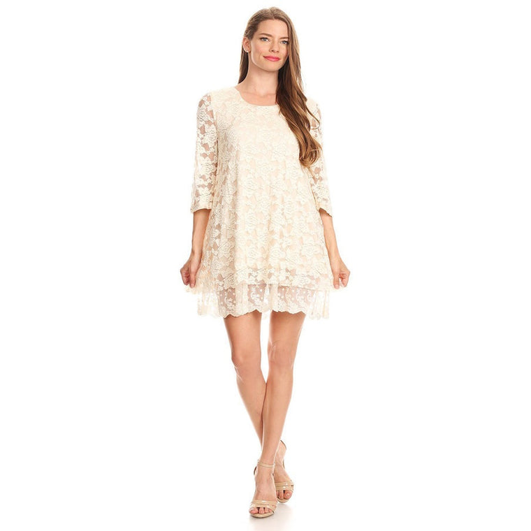 P81312-Beige, lace dress
