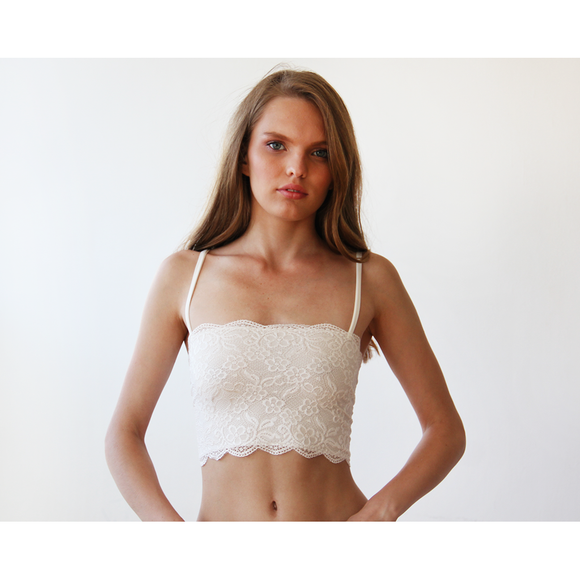 Ivory lace stretchy bandeau 2039