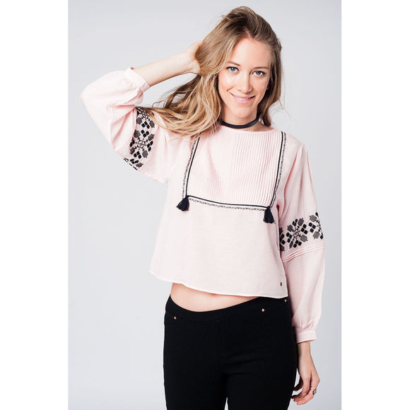Pink boho embroidered tassel blouse