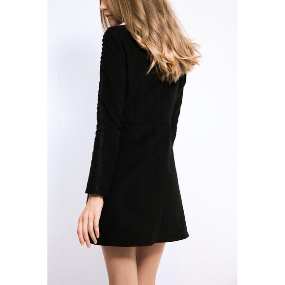 Black velvet  mini dress  with lace