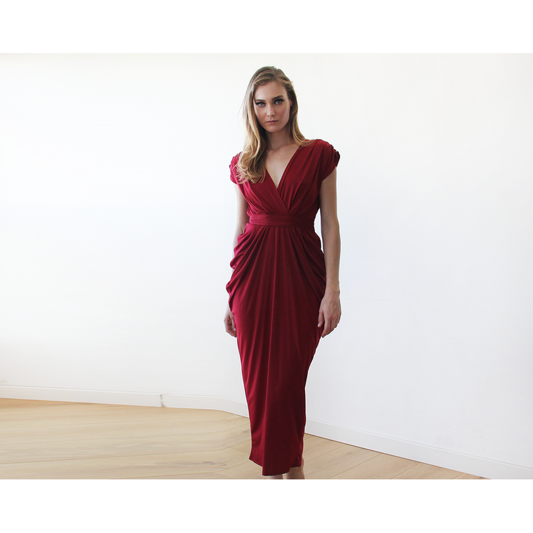 Bordeaux formal maxi dress 1008