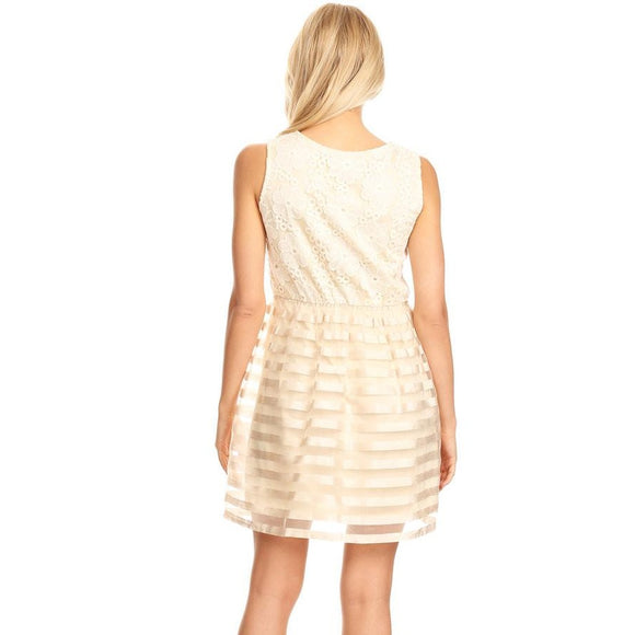 81310-Beige, lace dress