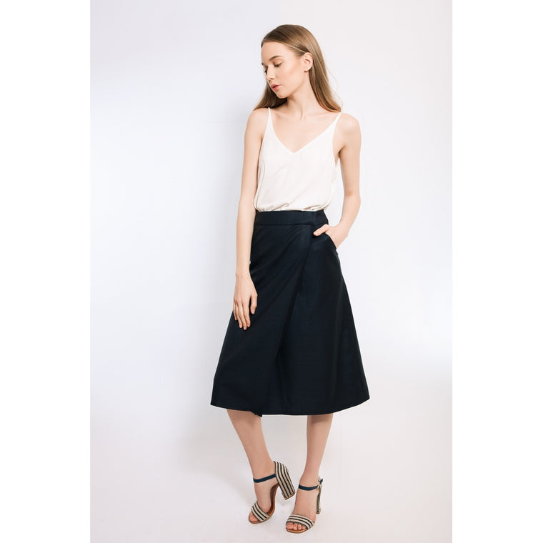 Dark blue wrap midi skirt