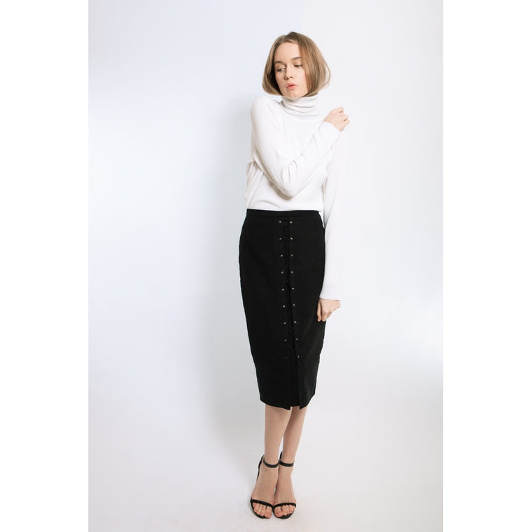 Black velvet lace-up pencil skirt