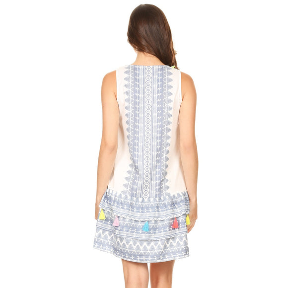 1032-Tribal pattern printed dress with tier & tassels