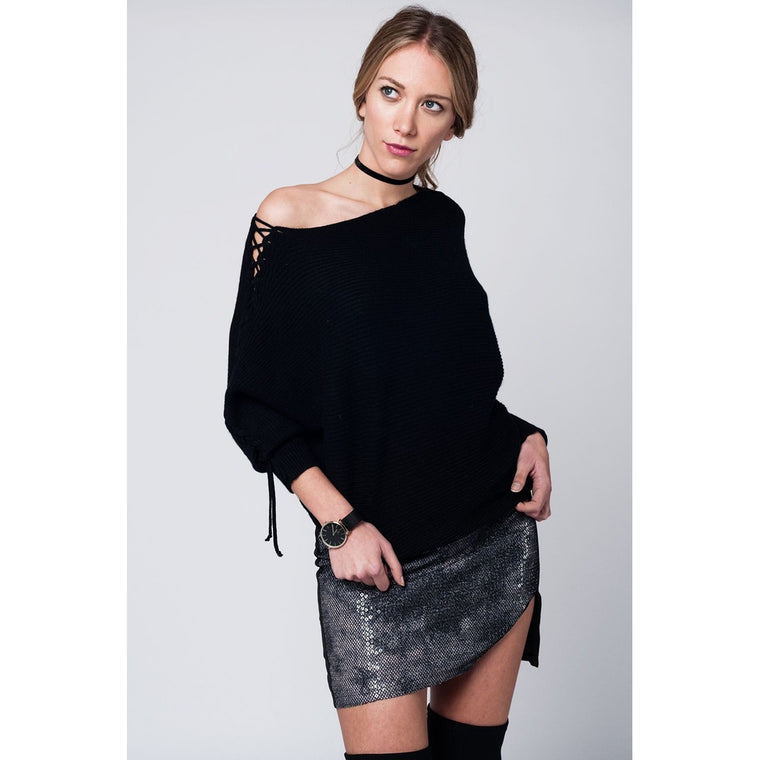 Black knitted sweater with bow detail in arms