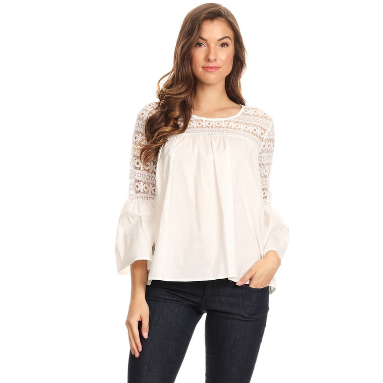 1030-White cotton & lace top