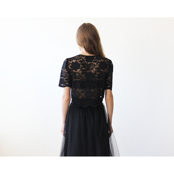 Black Lace short sleeves top  2037