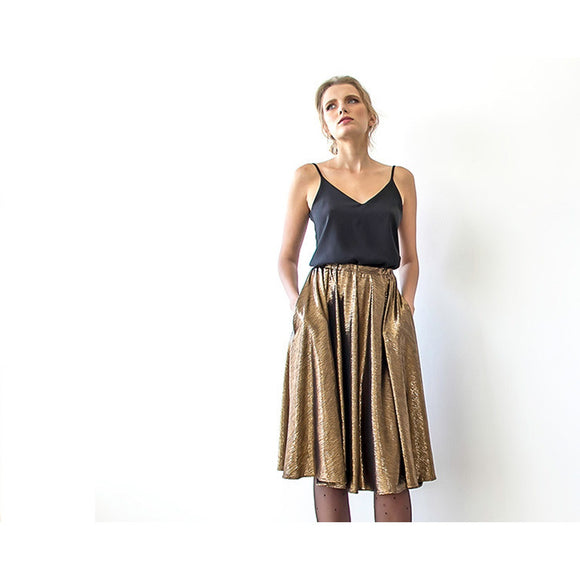 Metallic Bronze Midi Skirt with pockets 3011