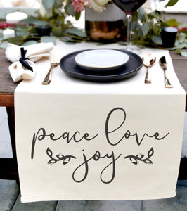 Peace Love Joy Cotton Canvas Table Runner