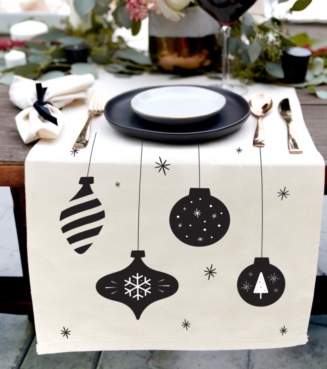 Christmas Ornaments Cotton Canvas Table Runner
